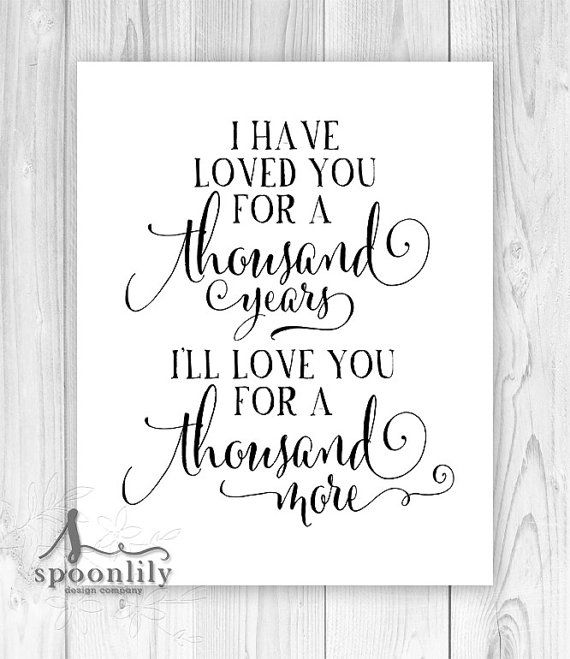 A Thousand Years Christina Perri - Song lyric art, first dance lyric, wedding gift, printable wall decor, typography, home decor, gift idea