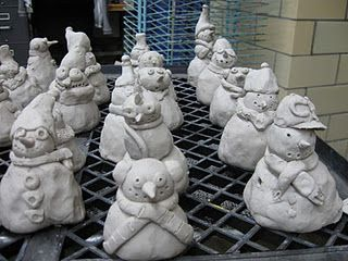 Clay Snowmen.  I also like the inverted milk crate or nursery flat as a drying rack!