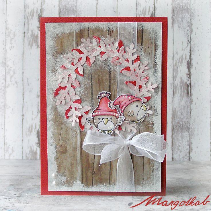 Vánoční+přání+ptáčci+červení+Přáníčko+z+papíru+velikost+a6.