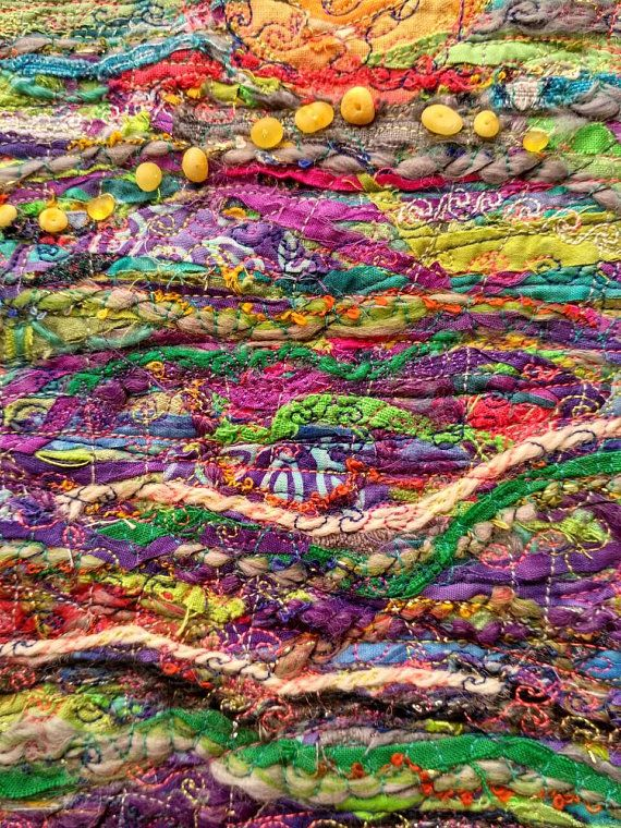 Quilted Wall Hanging Modern Quilt 14x16 Textile Fiber Art Metal Tree Wall Art Crazy Quilts Quilted Wall Hangings
