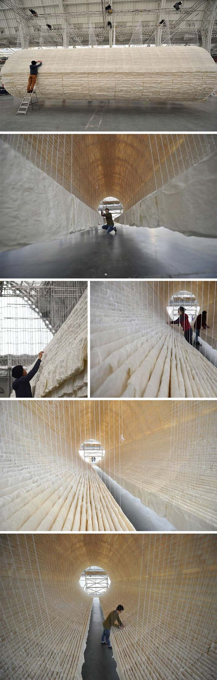 Chinese Contemporary Art, cool art installation made with rice paper and bamboo by Zhu Jinshi titled Boat, Art13 London