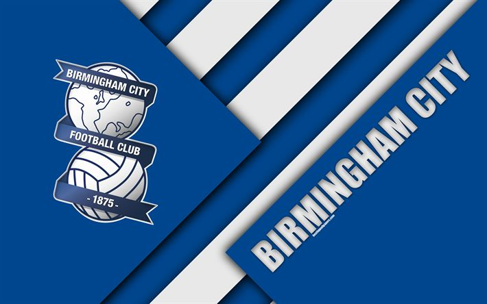 Download wallpapers Birmingham City FC, logo, blue abstraction, material design, English football club, Birmingham, England, UK, football, EFL Championship