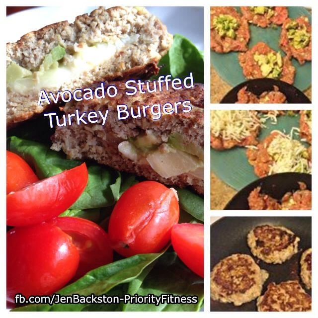 Jazz up your turkey burger with avocado and cheese! Click on the picture for the recipe.