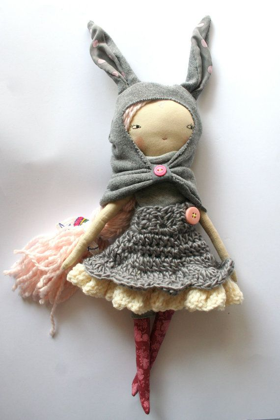 soft pink haired little lu 13ish rag doll cloth by humbletoys
