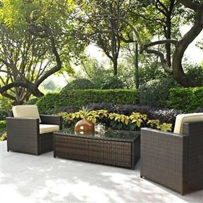 3-Piece Wicker Resin Patio Furniture Set with Cushions