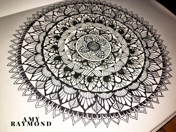 #mandala #sketch  by Amy Raymond 2/27/17.  #pigma #bw #doodle #inkart #mixedmedia #art #artismytherapist #zen #draw  #tangle #copic
