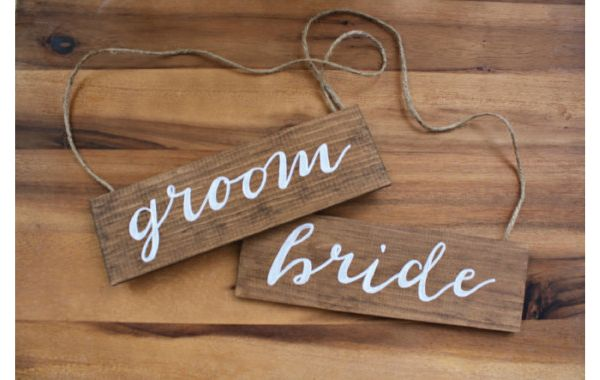 Wooden Bride and Groom Wedding Chair Back Signs