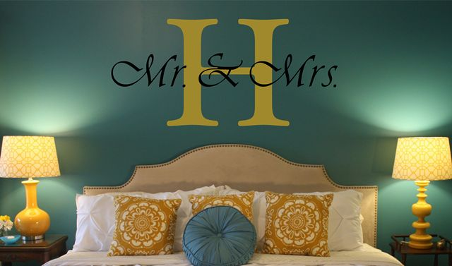 Mrs & Mrs with our Initial for over the bed...customize and color coordinate--