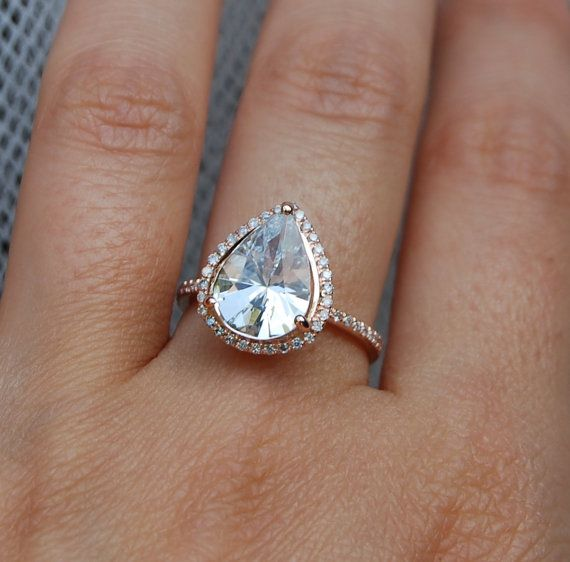 3 18ct Rain drop white sapphire 14k rose gold ring diamond ring engagement r