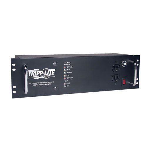 Tripp Lite LCR2400 Line Conditioner 2400W AVR Surge 120V 20A 60Hz 14 Outlet 12-Feet Cd. Powerful 1440-joule surge protection rating. 25,000 Ultimate Lifetime Insurance. 3U, 19-inch rackmount form factor. 2400 Watt, 20-Amp capacity with 14 NEMA 5-15R outlets and 12-foot AC cord. 12-ft cord. Platform: Windows. 2400W power capacity. Hardware Platform: Pc. The Tripp Lite LCR2400 Rackmount Line Conditioner is a 2400 Watt Automatic Voltage Regulation (AVR) system in convenient 3U, 19-inch...