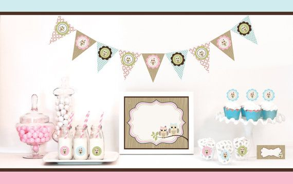 Owl Baby Shower Decorations and Owl Birthday Party by ModParty