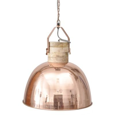 """Tip #7   Copper   Whether aged, beaten or polished to a high shine, this rose-hued metal perfectly complements a """"rough luxe"""" industrial or warehouse style   The Merle large copper ceiling pendant from Barker & Stonehouse was inspired by the shape of factory ceiling pendants and I love the contrast between the bleached wood fixture and glimmering copper shade."""