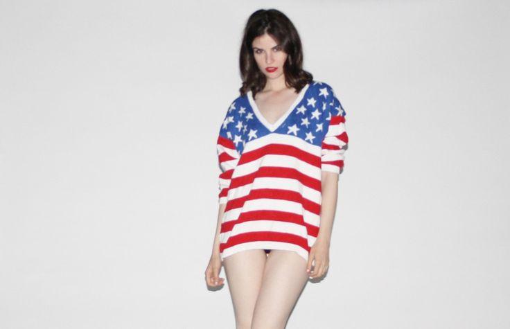 Vintage 1980s Patriotic American Flag V Neck Sweater