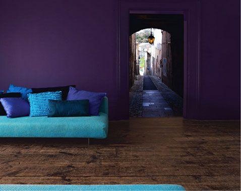 Couleur d coration salon peinture prune dulux valentine indigo saint valentin et turquoise for Peinture violet salin
