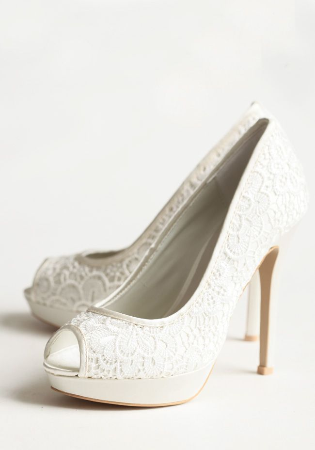 Together Forever Heels Delicate Ivory Lace Is Paired With Glowing Cream Colored Satin To Create An Irresistibly Romantic Look On These Vintage Inspired Peep