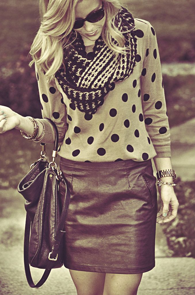More for me to do with my sweater  polka dots + pencil skirt