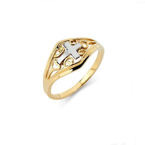 14K Two-Tone Sideways Cross Ring, Sideways Cross, Cross Ring, Sideways Cross Ring, Cross Jewelry, Sideways Cross Jewelry, Gold Cross