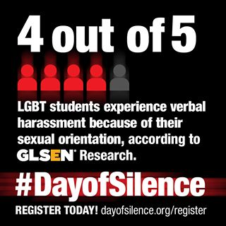 """We do this as part of our coexist club """"day of silence"""" - annual day of action to protest the bullying and harassment of lesbian, gay, bisexual, and transgender (LGBT) students and their supporters. Students take a day-long vow of silence to symbolically represent the silencing of LGBT students and their supporters."""