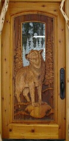 Kabekona WolfCedarPine door with fully carved wolf both