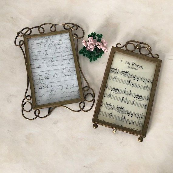 Gold Ormolu Easel Back Picture Frame With Beveled Glass In