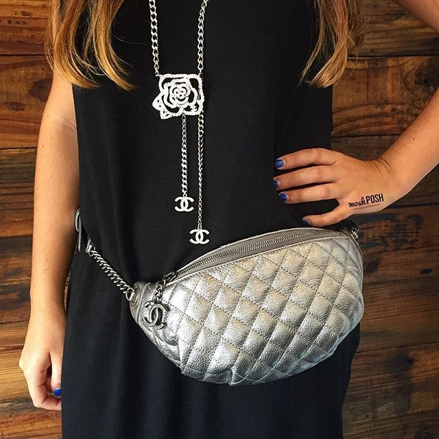Shop this cute Chanel Fanny Pack Waist bag & Chanel Camellia Flower Chain Belt Necklace on www.mymoshposh.com! #Chanel #cc #chanelfannypack #socute #chanelnecklace #chaneljewelry #fashion #trendy #luxury #moshposhfinds #mymoshposh #designerconsignment #designerhandbags #bagsofTPF #purseblog