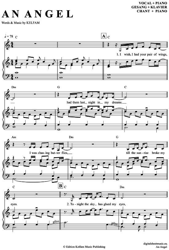 An Angel Klavier Gesang Kelly Family Pdf Noten