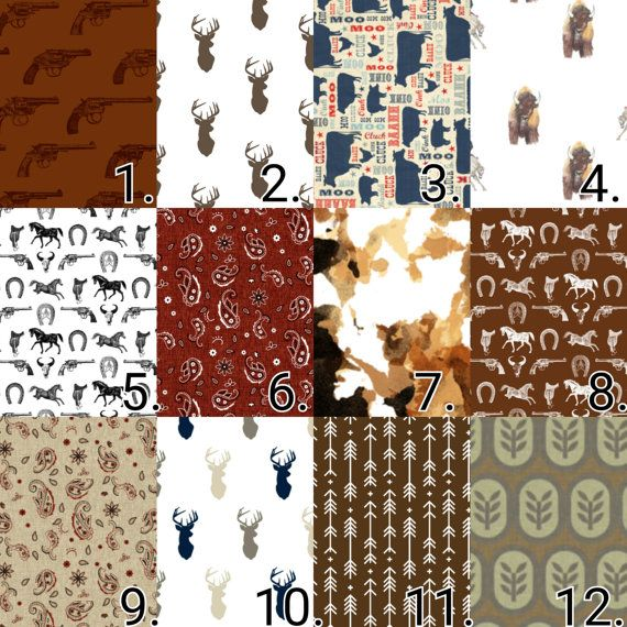 Western Cowboys and Indians Crib Bedding Set. Rustic deer heads revolvers and horsesd