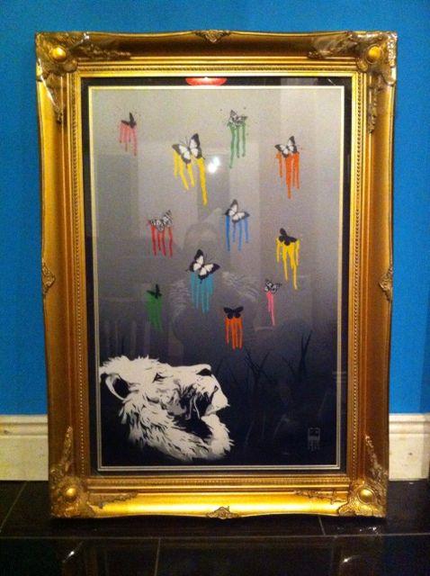Spray Paint, butterflies, lion, art