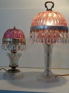 Art Deco bureau- of nachtlampjes in geslepen glas