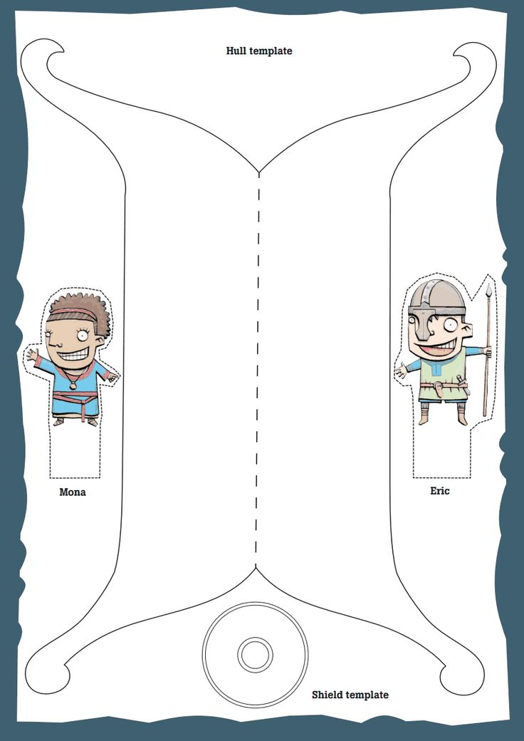 Template for a viking ship (free). Create your own figure head and flag (instructions included). Looks like fun!