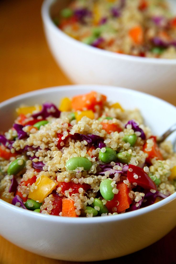 If you're bored of a basic green salad, here's a hearty variation that includes cooked quinoa for added protein and fiber. It's vegan and gluten-free, and for just 360 calories, each delicious bowl offers 15 grams of protein and 7.8 grams of fiber.