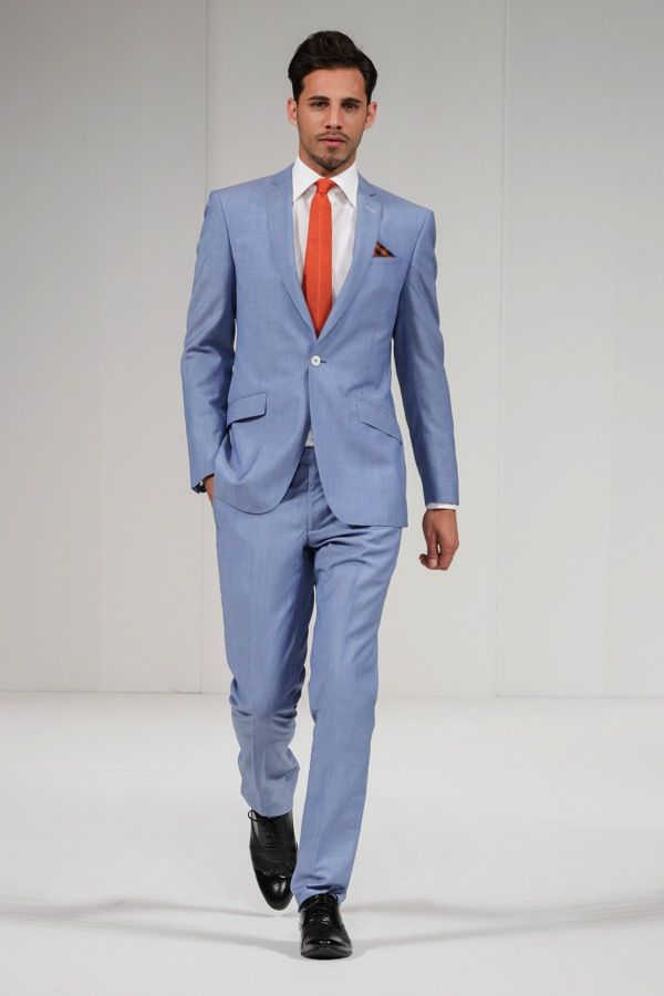 A Cool Blue Grooms Suit From Moss Bros Wedding Dress Trends For 2017 The