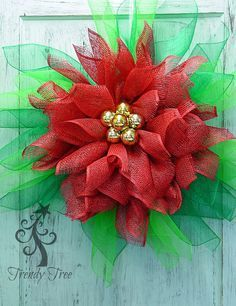 "Poinsettia wreath tutorial using Poly Burlap, Stemballs, Pencil Ball Ties, 10"" Pencil Wreath and Deco Poly Mesh."