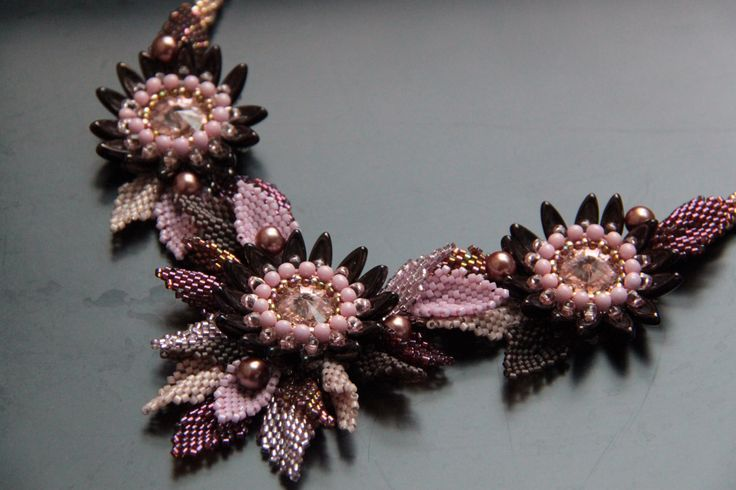 BW66 Beaded Kanzashi necklace from Leela's workshop - tutorial here: https://www.etsy.com/listing/470085244/kanzashi-flower-necklace-exclusive-pdf?ref=shop_home_feat_1