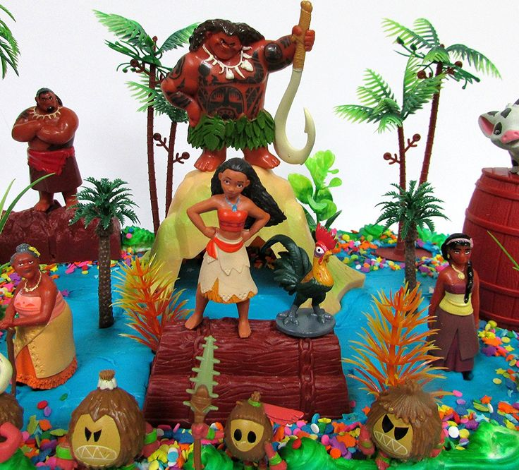 Moana birthday cake topper set featuring various