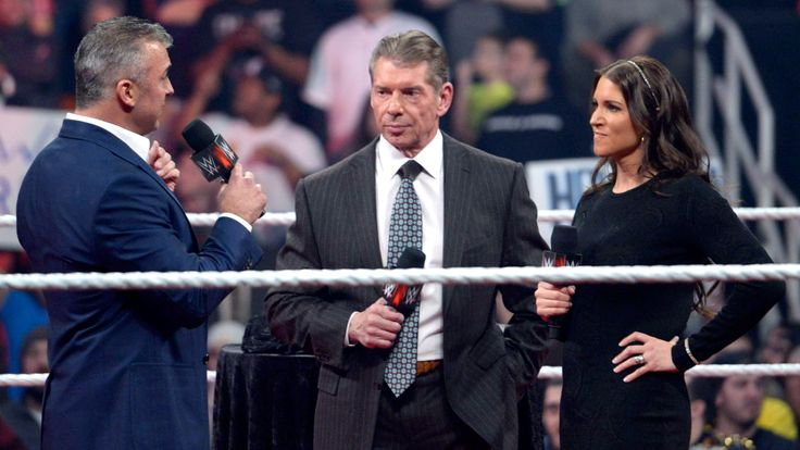Shane McMahon is back to the WWE. Stephanie McMahon, Vince McMahon and Shane McMahon - WWE Raw February 22 2016