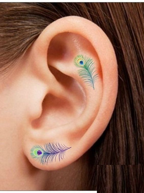 Peacock Feathers - Helix Ear Tattoos That Are So Much Better Than Piercings - Photos