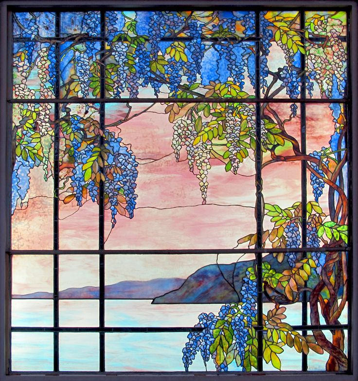 'View of Oyster Bay', stained glass window designed by Louis Comfort Tiffany (1908). Original Photo: Sailko (CC-BY-SA 3.0)