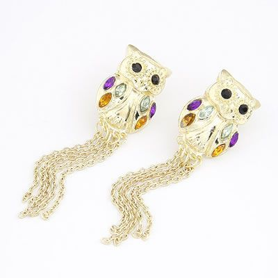 Korean Personality Fashion OWL Tassels Charm Design Earrings General. Fashionable with passion REPIN if you like it.😊 Only 33.5 IDR