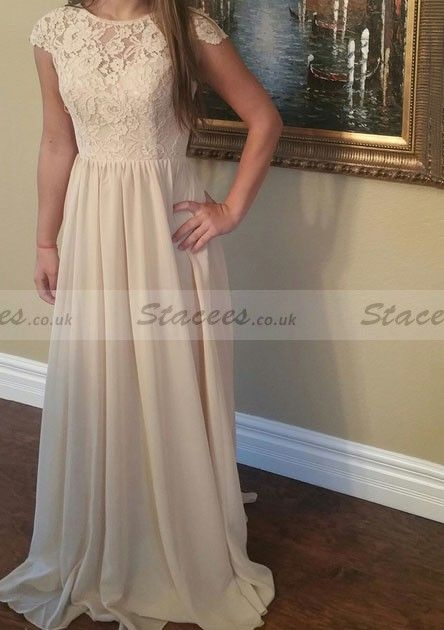 Chiffon Prom Dress A-Line Princess Bateau Sweep Train With Lace! Stacees  PromDress 89bf8c5c1