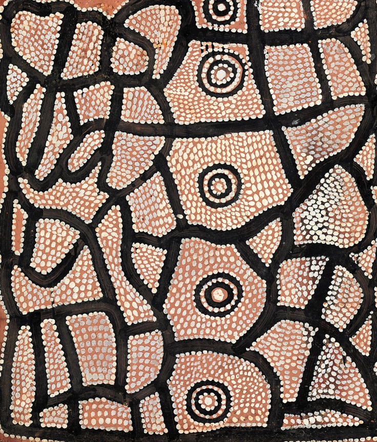 Water Dreaming at Kalipinypa (Rêve d'eau à Kalipinypa) par Walter Tjampitjinpa, 1971 – peinture émaillée sur panneau. Crédits : © Licensed by Aboriginal Artists Agency Limited and Papunya Tula Artists