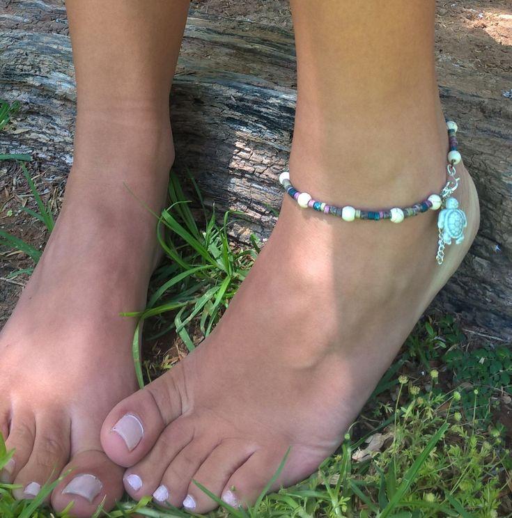 Beaded anklet, Ankle chain, Greek ceramic barrel beads anklet, Beach Boho anklet by AhyokaByBernice on Etsy
