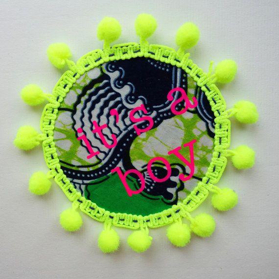'IT'S A BOY' …… new baby Rosette pin badge handmade by dAKOTArAEdUST, £7.00