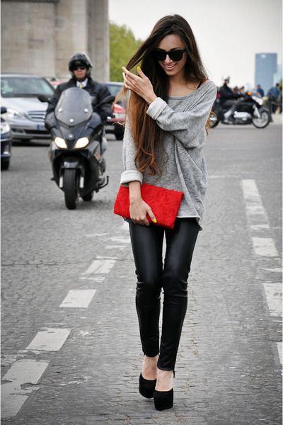 Avenue des Champs-Élysées  a lil bit of red: Color, Outfit, Over Sweaters, Leather Legs, Louis Vuitton Handbags, Red Bags, Red Clutches, Leather Pants, Black Pants