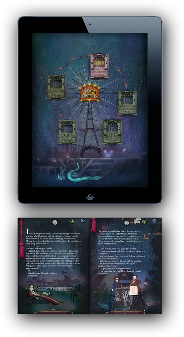 Interactive book «The adventures of Sherlock Holmes» by AWWsoft , via Behance