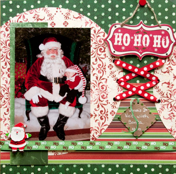 First visit with santa scrapbooking for Christmas layout ideas