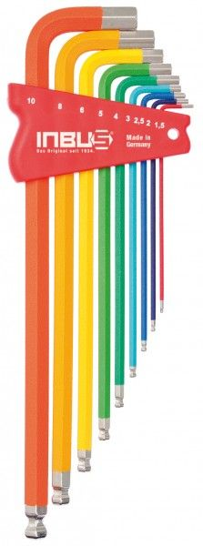 INBUS® 70273 - Farbcodiert bunt 9tlg. 1,5-10mm Made in Germany      Satz 9tlg. 1.5-10mm     hochwertig pulverbeschichtet     jeder Größe ist eine eigene Farbe zugeordnet     optisch sehr ansprechend und funktional     10 Jahre Garantie     Marke: INBUS® - Das Original seit 1934.  http://www.inbus.de/home/inbus-farbcodiert/45/inbus-70273-inbusschluessel-satz?c=8