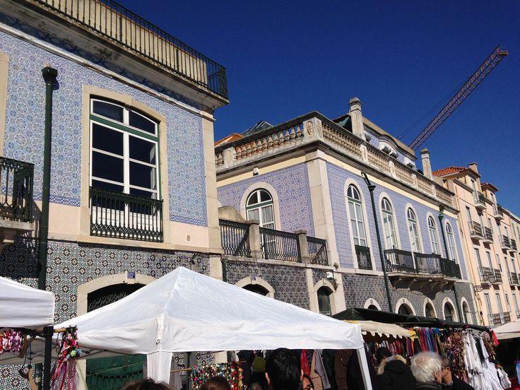 Beautiful blue azulejos at Lisboa marketplace.