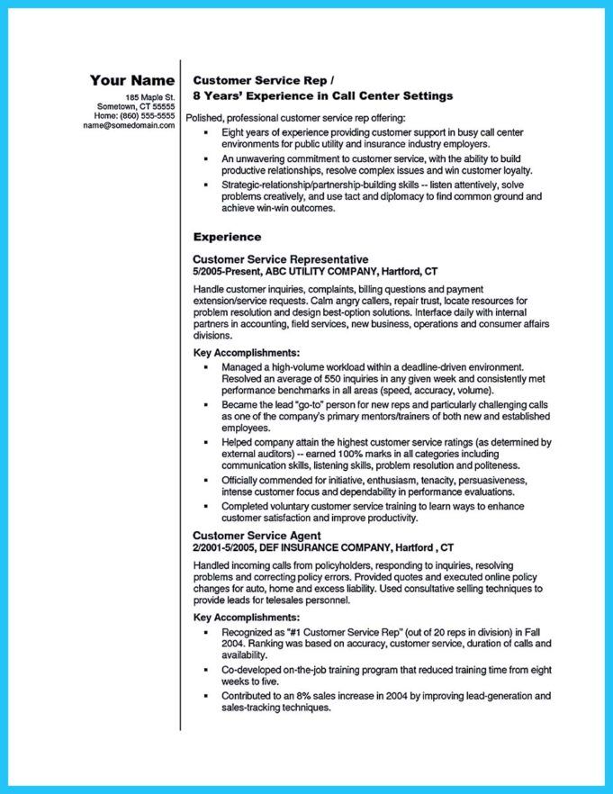 Call Center Agent Resume Objective Sample Customer Service