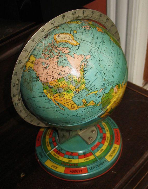 Vintage 1950s Tin World Globe With Atlas Figure Holding It Up
